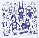klottrar sketchbooken stock illustrationer
