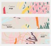 Klottrar uppsättningen för banret för grå färger för fläckklotterrosa färger stock illustrationer