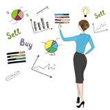 Klottret för handlaget för handen för sikten för affärsdambaksida kartlägger och grafer stock illustrationer