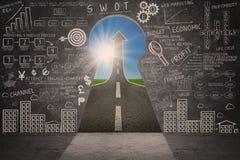 Klottret och pilen för strategi för affärsmarknadsföringsframgång undertecknar Arkivbild