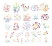 Klottret skissar kulöra kristaller Samling av mineraler vektor illustrationer