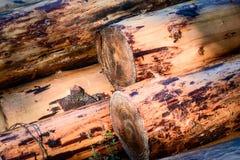 Klotz eingestuft in einem großen Stapel, Wartung Tischler, um alte Häuser zu bauen lizenzfreie stockfotos