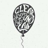 Klären Sie Ihren Verstand von kann nicht im Ballon auf Weinlesehintergrund Stockbilder