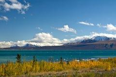 Kluane与监视的湖和圣伊莱亚斯山看法  免版税库存照片