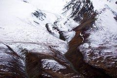 Εθνικές απόψεις πάρκων και επιφύλαξης Kluane, κοιλάδων, βουνών και παγετώνων Στοκ Φωτογραφίες