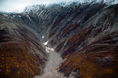 Kluane National Park and Reserve, Valley and Mountainsde Views. Spectacular mountainside and valley views from the air within Kluane National Park and Reserve Royalty Free Stock Images