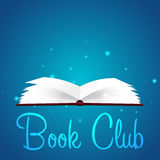 Klub Książki Czytelniczy klub Otwiera książkę z tajemniczym jaskrawym światłem również zwrócić corel ilustracji wektora ilustracja wektor