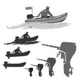 Klubba av fiskare i fartyg med en motor stock illustrationer