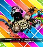 Klubba diskoreklambladmallen med musikbeståndsdelar, färgrika Scalable bakgrunder Arkivfoto