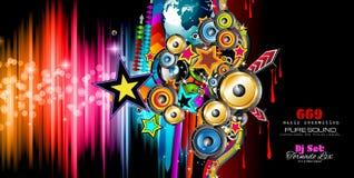 Klubba diskoreklambladmallen med musikbeståndsdelar och färgrikt Scalable stock illustrationer