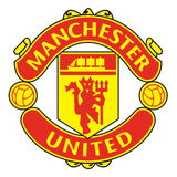 Klubba för Manchester United logofotboll Arkivfoton