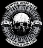 Klubba för motorcykel för grafisk design för skjorta för skalle T stock illustrationer