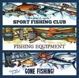 Klubban för fiske för vektorfiskaresporten skissar baner stock illustrationer