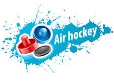 Klubbor och puck för lufthockeylek Royaltyfri Fotografi