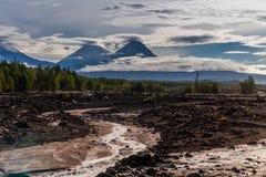 Kluchevskaya sopka and Kamen vulcans at Kamchatka Stock Images