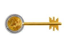 Klucz robić euro moneta Zdjęcie Royalty Free