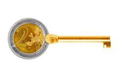 Klucz robić euro moneta Zdjęcia Stock