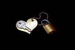Klucz, serce, kędziorek i oddanie, - symbol miłość Fotografia Royalty Free