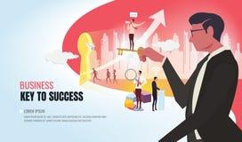 Klucz sukcesu pomaga biznes drużynowy ver2 ilustracji