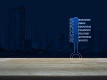 Klucz z biznesów słowami na drewnianym stole nad nowożytnym biurowym miastem Zdjęcie Stock
