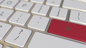 Klucz z flag? Maroko na komputerowej klawiatury zmianach wpisywa? z flag? usa, przek?ad lub przeniesienie, zbiory wideo