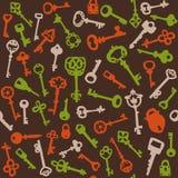 klucze deseniują bezszwowego rocznika Obrazy Royalty Free