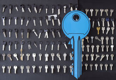 Klucze dla ciąć i duży symboliczny błękita klucza obrazy stock