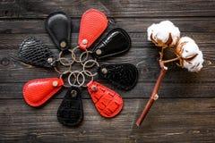 Klucze dołączali rzemienny keychain na drewnianym tle, Zdjęcia Stock