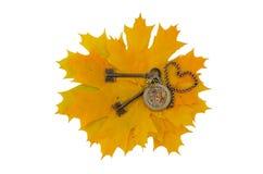 Klucze i mechanizm kieszeniowy zegarek Obraz Royalty Free