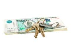 Klucze na rubla pieniądze Zdjęcie Stock