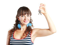klucze pokazywać kobiety Fotografia Royalty Free