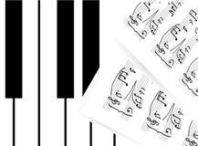 klucze zauważają pianino Zdjęcie Stock