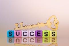 kluczem sukcesu kluczowy drewno zdjęcie stock