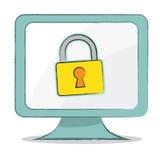 Kluczowa ikona na komputerowym monitorze - Wektorowa ilustracja Ilustracji