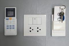 Kluczowa karta, elektryczny panel w pokoju hotelowym, Obraz Royalty Free