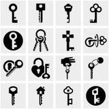 Kluczowe wektorowe ikony ustawiać na szarość. Obraz Stock