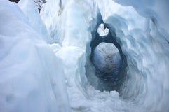 Kluczowej dziury lodu kształt w Franz Josef lodu lodowu, Nowa Zelandia Zdjęcia Stock