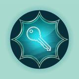 Kluczowej ikony guzika nieba błękita magiczny szklisty sunburst błękitny tło ilustracji