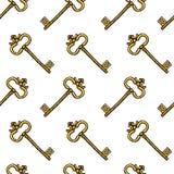 Kluczowy bezszwowy wzór Wewnętrzny akcesorium dla drzwi grawerująca ręka rysująca w starym rocznika nakreśleniu ilustracji