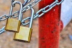 Kluczowy kędziorek blokujący z łańcuchem Fotografia Stock