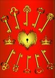 kluczowy serce set Obrazy Royalty Free