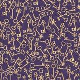 Kluczowy złoto, antykwarska kolekcja Wektorowe sylwetki dla drzwi Bezszwowego wzoru ilustracja wektor
