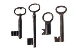 kluczy rzędu rocznika biel Zdjęcia Stock