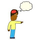 kluger Mann der Karikatur, der mit Gedankenblase zeigt Stockfotografie