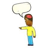kluger Mann der Karikatur, der mit Spracheblase zeigt Stockfotos