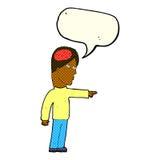 kluger Mann der Karikatur, der mit Spracheblase zeigt Stockbilder