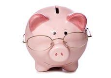 Kluges Geldeinsparungssparschwein herausgeschnitten Lizenzfreies Stockbild