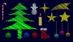 klujący się Boże Narodzenie elementy Ilustracji