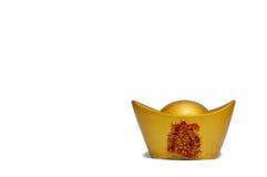 Klump för guld- guldtacka för traditionell kines som forntida isoleras på whit royaltyfri fotografi