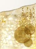 Klumpa ihop sig den guld- vykortet för glad jul med xmas, vektorn stock illustrationer
